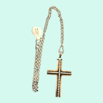 Kalo Shop Mid Century Modern Sterling Cross Pendant & Chain