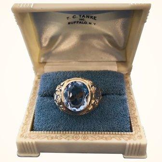 Men's 18K Gold Aquamarine Ring