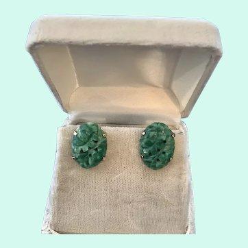 Art Deco Carved Jade Jadeite 14K Gold Pierced Earrings