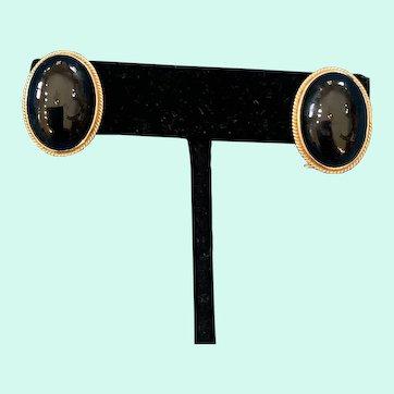 Pretty 14K Gold Oval Black Onyx Omega Back Earrings