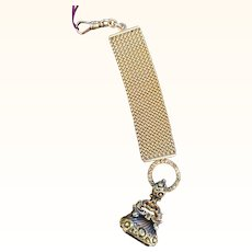 Rare 14k Yellow Gold Repousse Watch Fob Citrine Stone