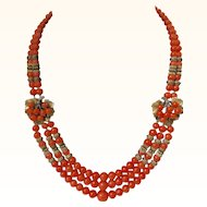 Rare Unsigned Miriam Haskell Genuine Salmon Coral Multi Strand Necklace