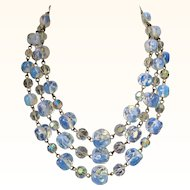 Magnificent Louis Rousselet Opalescent Triple Strand Beaded Necklace