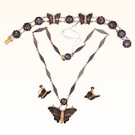 Japanese Damascene Butterfly Necklace Bracelet & Earrings