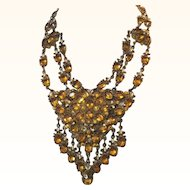1930's Czech Open Backed Faux Topaz Stone Festoon Necklace