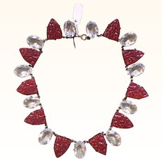 Art Deco Faceted Rock Crystal and Carnelian Glass Necklace