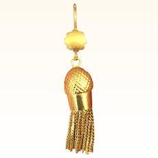 18K Yellow Gold Acorn Top Tassel Earrings
