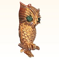 14K Yellow Gold Cast Owl Pendant Emerald Eyes