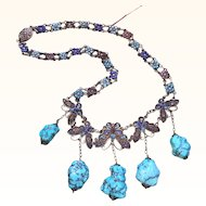 Chinese 1930's Enamel on Silver Butterfly Turquoise Dangle Necklace