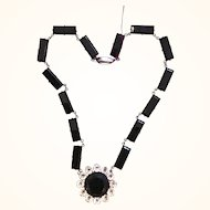 Art Deco Rock Crystal Onyx Glass Sterling Necklace
