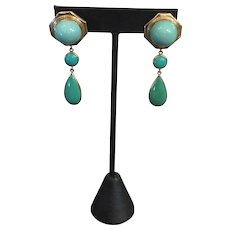 Gorgeous 14k Yellow Gold Persian Turquoise Earrings