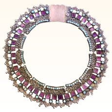 1940's Matl Style Mexican Sterling Collar Necklace By Cecelia