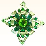 Gorgeous Large Schreiner Brooch Shades of Green