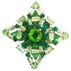 Gorgeous Large Schreiner Brooch Shades of Green