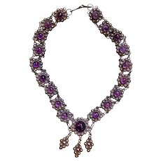 Early Taxco Mexico 980 Sterling Amethyst Cabochon Necklace