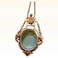 Ornate Victorian Gold Beveled Crystal Locket