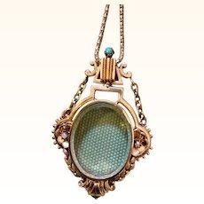 Ornate Victorian Gold Beveled Crystal Locket