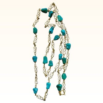 Turquoise and 14k Yellow Gold UnoAErre Chain Necklace