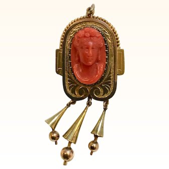 Beautiful Victorian 14k Mediterranean Red Coral Cameo Pendant