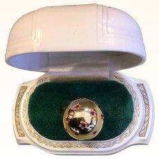 1940's 18k Yellow Gold Sphere Ring Ruby Stars