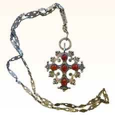 Beautiful Peruzzi Sterling Carnelian Pendant Necklace