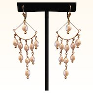 Exquisite 14k Gold & Pearl Long Chandelier Earrings
