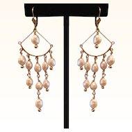 Exquisite 14k Gold & Pearl Long Chandelier Earrings
