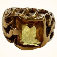 Unusual 14k Yellow Gold Citrine Brutalist Ring