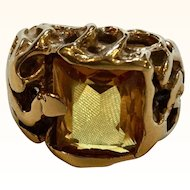 Unusual 14k Yellow Gold Citrine Brutalist Ring