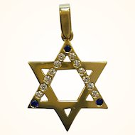 Lovely 14k Yellow Gold Star of David Pendant Set With Diamonds and Sapphires