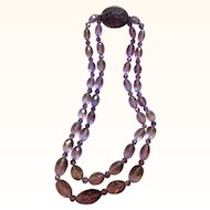 Beautiful Chinese Double Strand Faceted Amethyst Bead Necklace