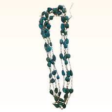 """Vintage Sterling & Turquoise Guard Chain 100"""""""