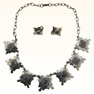 Early Taxco Mexico Silver Amethyst Cabochon Necklace & Earrings