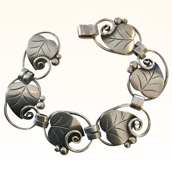 La Paglia Sterling Silver Leaf Bracelet