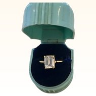 14k Yellow Gold 2.5 Carat Emerald Cut Cubic Zirconium Ring