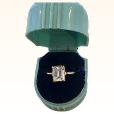 14k Yellow Gold 2.5 Carat Emerald Cut Cubic Zirconium Ring
