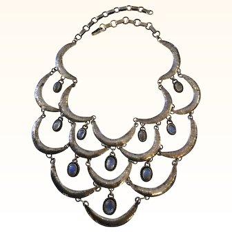 Stunning Sterling Silver Moonstone Bib Necklace