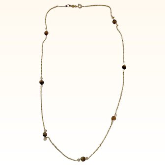 14k Yellow Gold Chain Necklace With Tiger Eye Beads