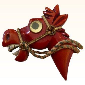 RARE Googly Eyed Bakelite Horse Brooch Pin