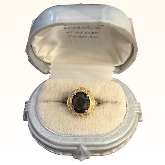 Beautiful Smokey Quartz Ring 14K Yellow Gold Setting