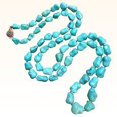 """31"""" Long Chinese Turquoise Nugget Necklace 75.5 Grams"""