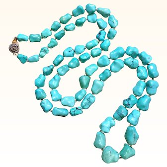 "31"" Long Chinese Turquoise Nugget Necklace 75.5 Grams"