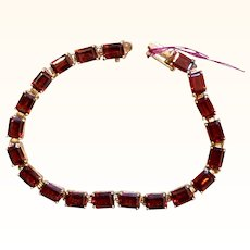 20 Carat Rhodolite Garnet Tennis Bracelet 14K Gold