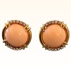 Gorgeous 18K Gold Gump's Angel Skin Coral Earrings