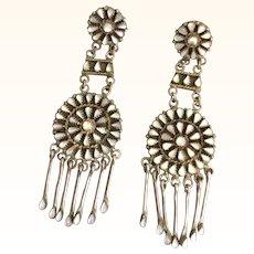 Vintage Native American Zuni Mother of Pearl Sterling Earrings