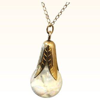 "Vintage Floating Opal Necklace 18"" Gold Filled Chain"