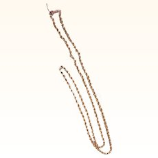 """Unusual Early Textured Link 28.5"""" 14K Gold Chain"""