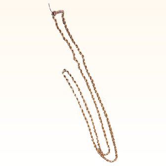 "Unusual Early Textured Link 28.5"" 14K Gold Chain"