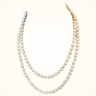 """Baroque Akoya Saltwater Pearls 45"""" 14K White Gold Clasp"""