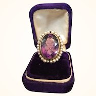 Victorian 14K Gold Amethyst 20+ Carat Seed Pearl Ring Hinged Shank